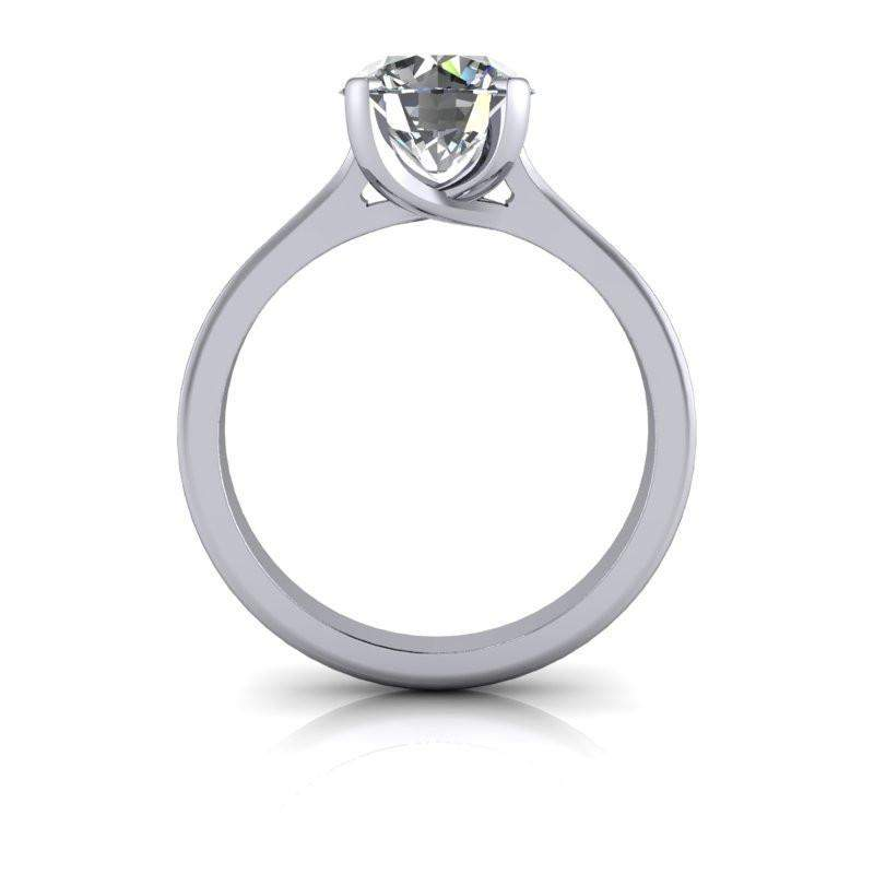 1.50 CTW Trellis Style Round Solitaire Engagement Ring, Center Stone Options-Bel Viaggio Designs, LLC