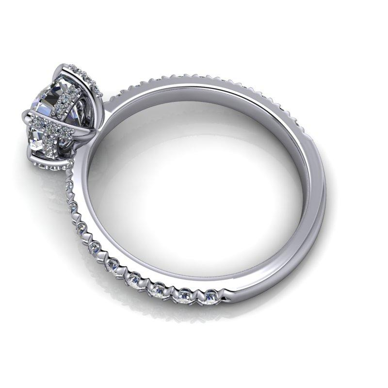 1.51 CTW Hearts & Arrows Moissanite Engagement Ring, Claw Prongs-Bel Viaggio Designs