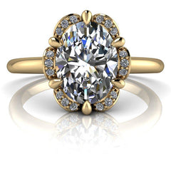 1.53 CTW Oval Forever One Moissanite Halo Ring, Center Stone Options-BVD