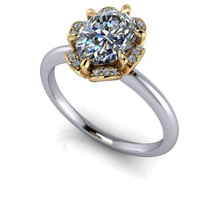 1.53 CTW Oval Forever One Moissanite Halo Ring, Center Stone Options-Forever One-Bel Viaggio Designs-Bel Viaggio®