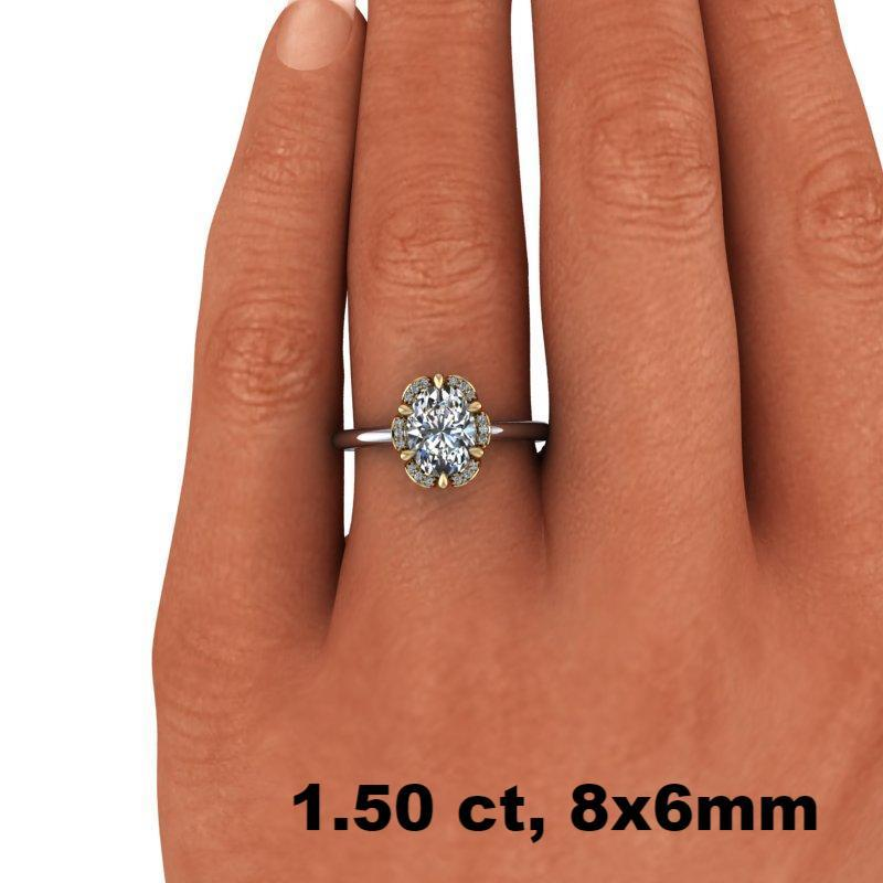 1.53 CTW Oval Forever One Moissanite Halo Ring, Center Stone Options-Bel Viaggio Designs, LLC