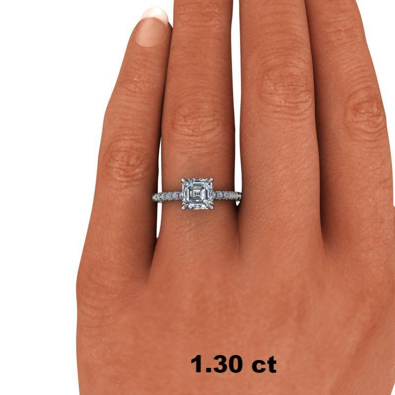 1.55 CTW Asscher Cut Forever One Moissanite French Set Engagement Ring-Bel Viaggio Designs