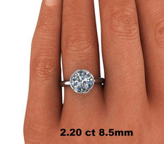 1.55 CTW Diamond Accented Forever One Moissanite Engagement Ring, Stone Options-Bel Viaggio Designs, LLC