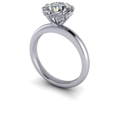 1.55 CTW Diamond Accented Forever One Moissanite Engagement Ring, Stone Options-Insieme-Bel Viaggio Designs-Bel Viaggio®