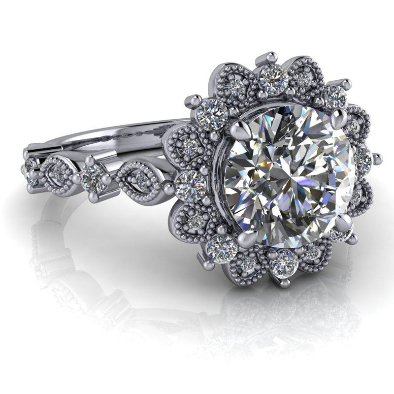 1.55 CTW Moissanite Halo Engagement Ring, Vintage Style Ring-Bel Viaggio Designs