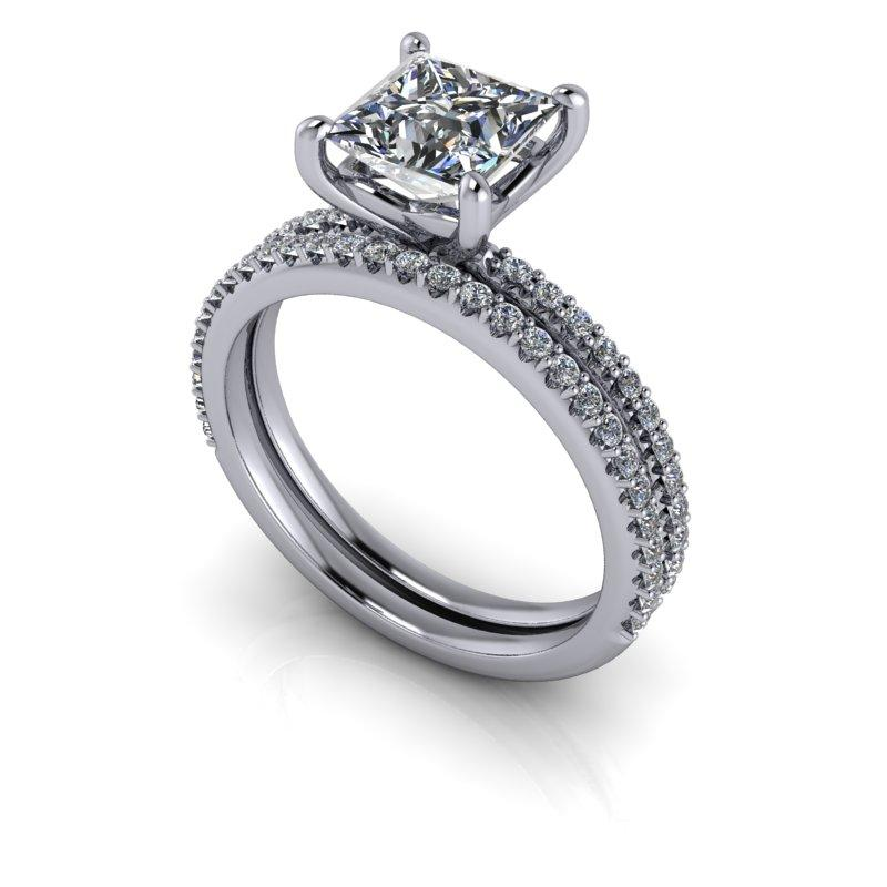 1.56 CTW Princess Cut Bridal Set Forever One Thin Band Engagement Ring-Forever One-Bel Viaggio Designs-Bel Viaggio®