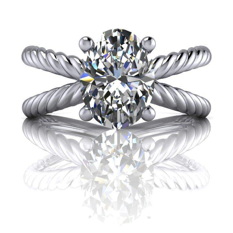 1.56 CTW Rope Shank Forever One Oval Solitaire Engagement Ring, Stone Options-Bel Viaggio Designs, LLC