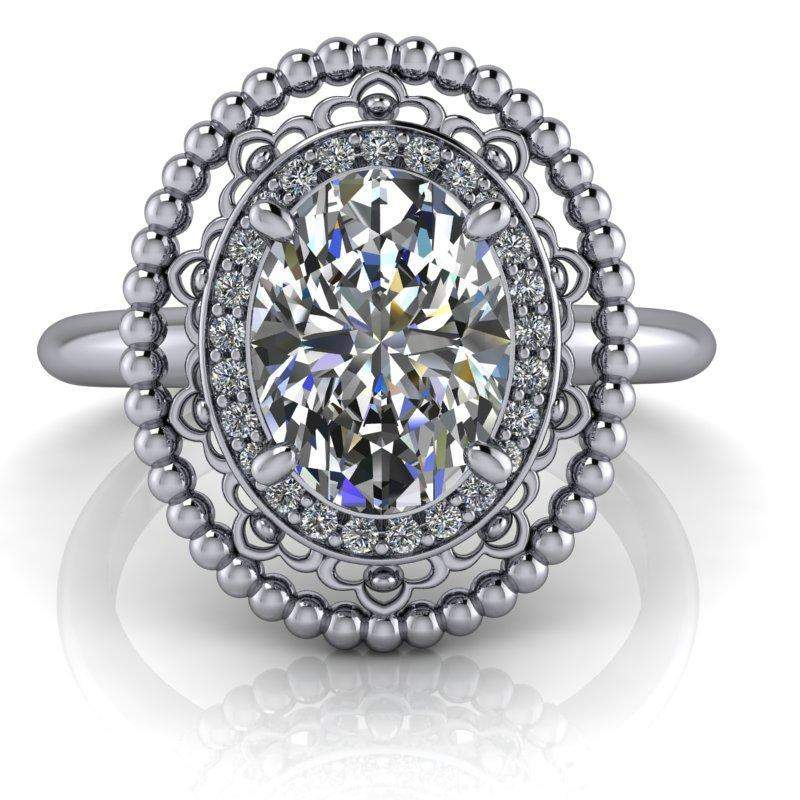 1.57 CTW Stacy K ~ Opulence Limited Edition Oval Vintage Style Halo Diamond Engagement Ring-Bel Viaggio Designs, LLC