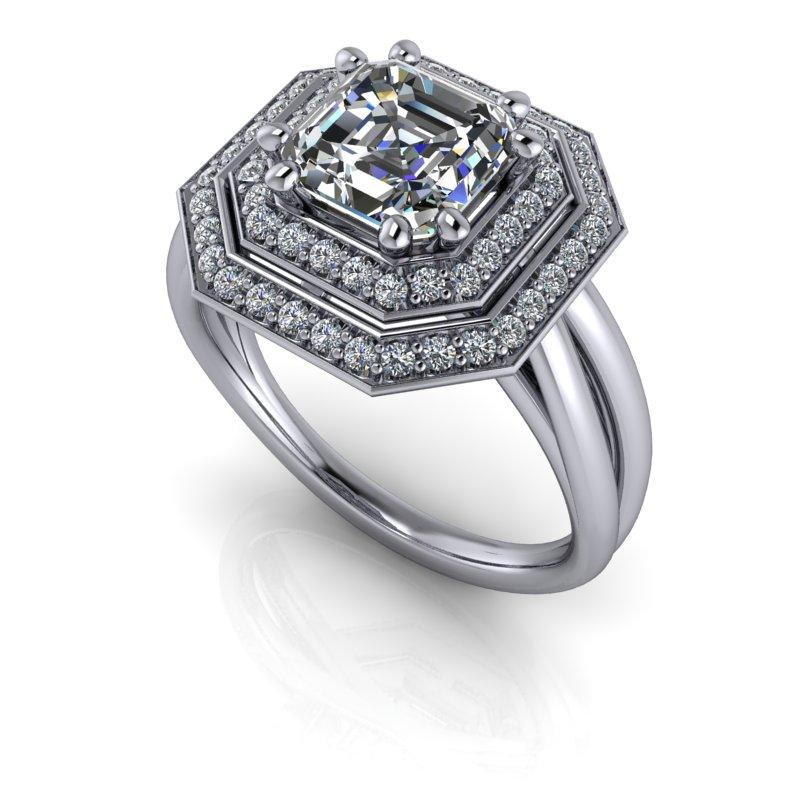 1.58 CTW Asscher Cut Forever One Moissanite Halo Engagement Ring-Bel Viaggio Designs, LLC