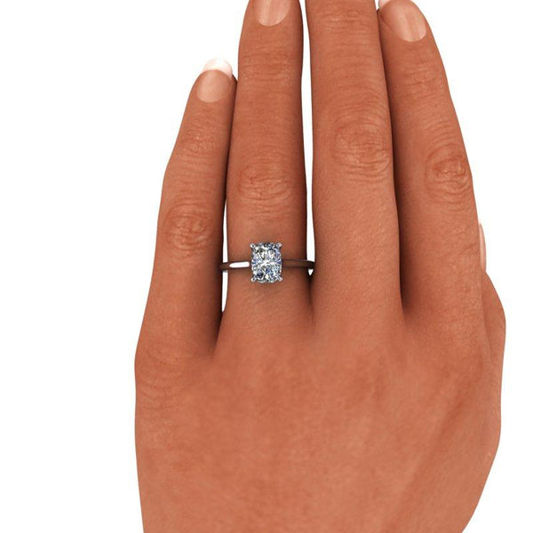 1.60 CTW Elongated Cushion Cut Moissanite Solitaire Engagement Ring-Bel Viaggio Designs