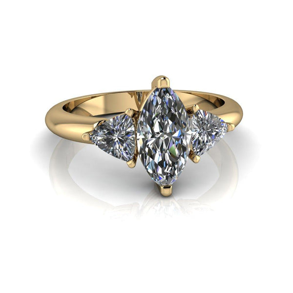 1.60 ctw Marquise & Trillion Forever One Moissanite Three Stone Engagement Ring-Bel Viaggio Designs