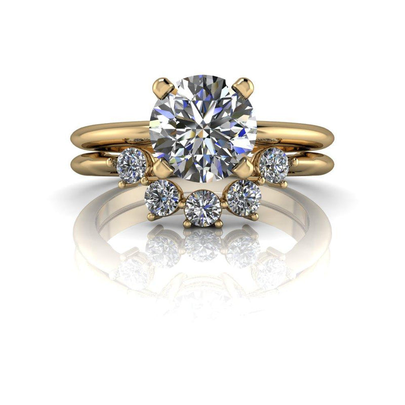 1.61 ctw Hearts & Arrows Round Colorless Moissanite Engagement Ring/Bridal Set-Bel Viaggio Designs