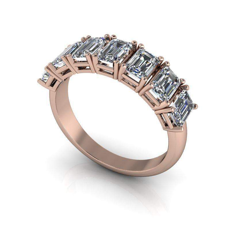 1.62 CTW Forever One Moissanite Emerald Cut Anniversary Ring-Bel Viaggio Designs, LLC