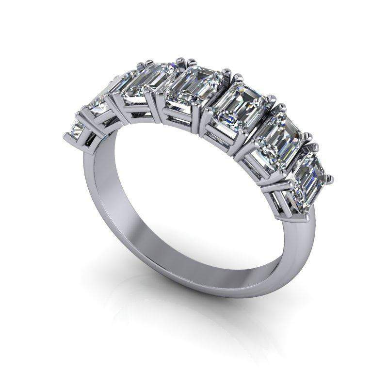 1.62 CTW Forever One Moissanite Emerald Cut Anniversary Ring-BVD