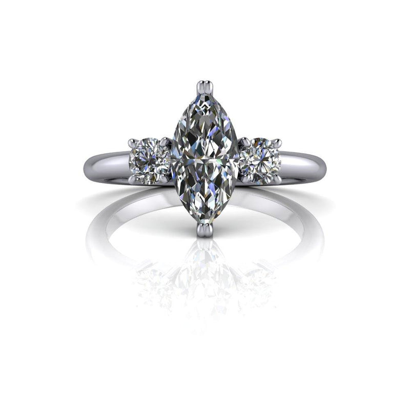 1.62 ctw Marquise Forever One Colorless Moissanite Engagement Ring Bridal Set-Bel Viaggio Designs