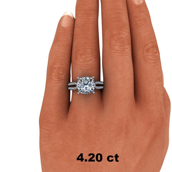 1.63 CTW Cushion Cut Moissanite Engagement Ring - Stone Options-Bel Viaggio Designs