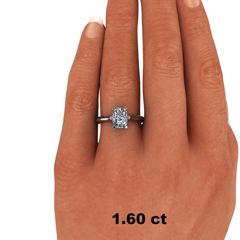 1.63 ctw Elongated Cushion Cut Solitaire Moissanite Ring-Bel Viaggio Designs