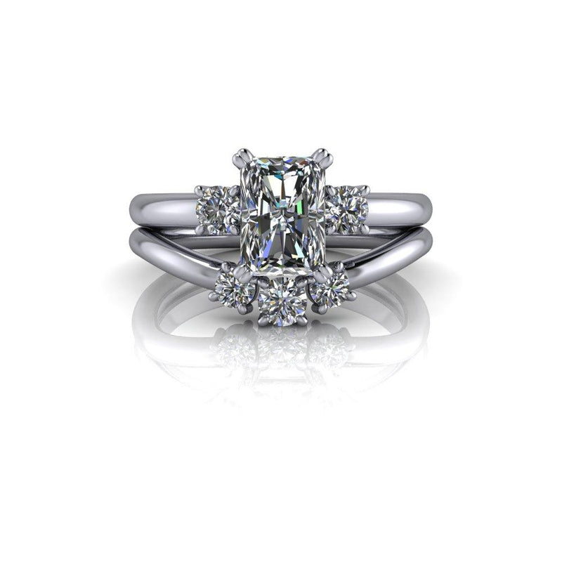 1.63 ctw Radiant Forever One Colorless Moissanite Engagement Ring Bridal Set-Bel Viaggio Designs