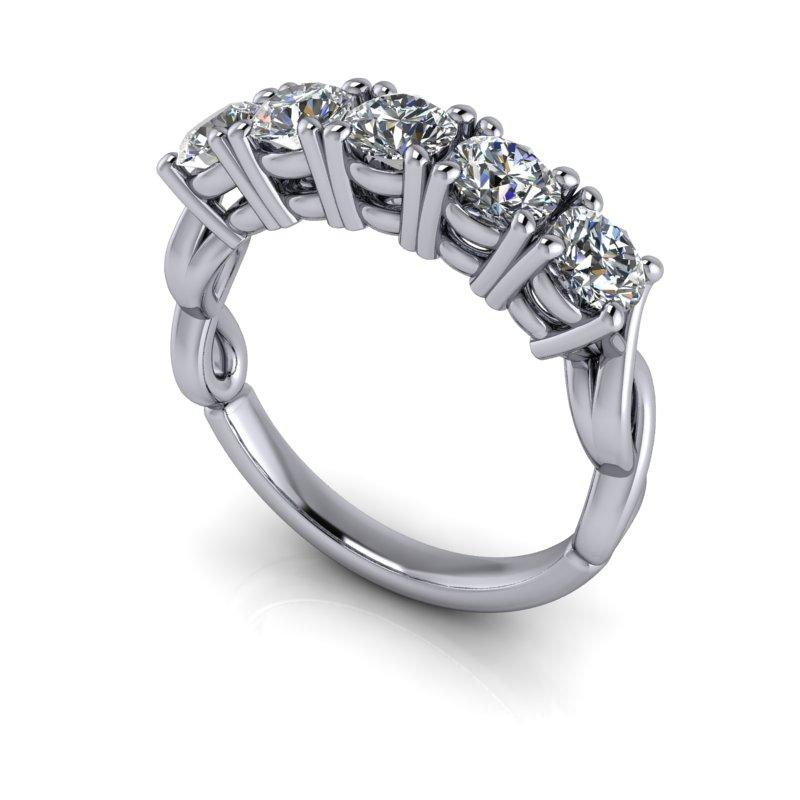 1.65 CTW Forever One Moissanite Five Stone Anniversary Ring-Bel Viaggio Designs