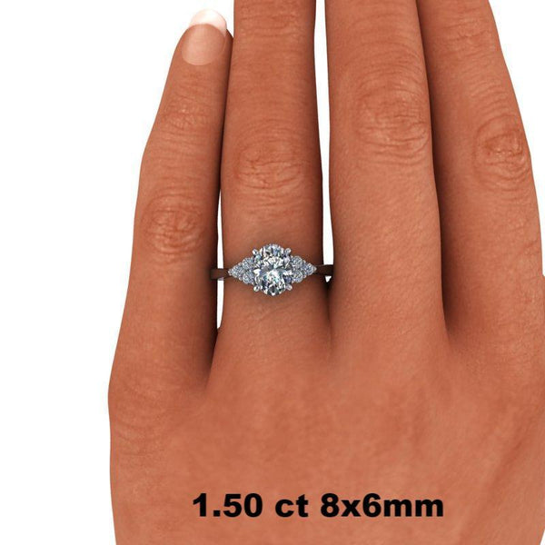 1.65 CTW Oval Cut Forever One Moissanite Engagement Ring, Center Stone Options-Bel Viaggio Designs