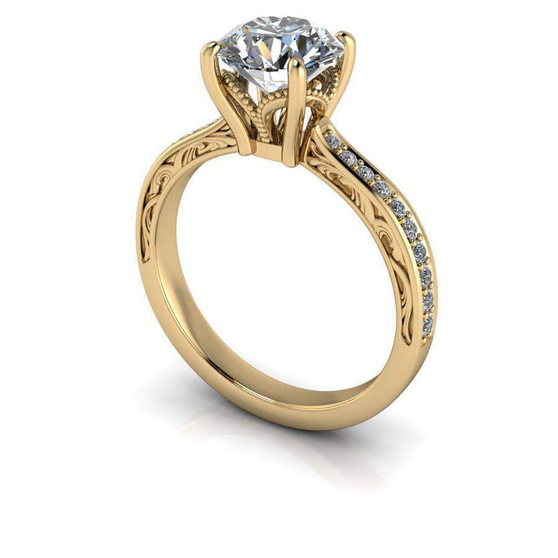 1.65 CTW Vintage Style Round Forever One Moissanite Engagement Ring-Bel Viaggio Designs