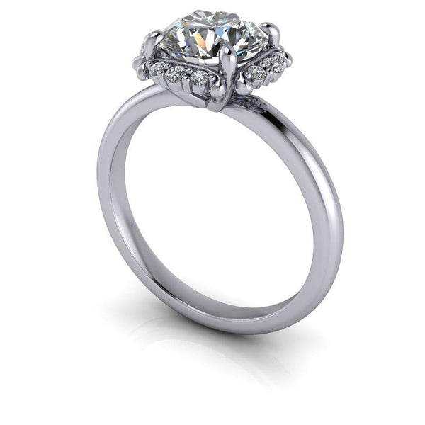 1.67 CTW Halo Style Moissanite and Lab Grown Diamond Engagement Ring-Bel Viaggio Designs