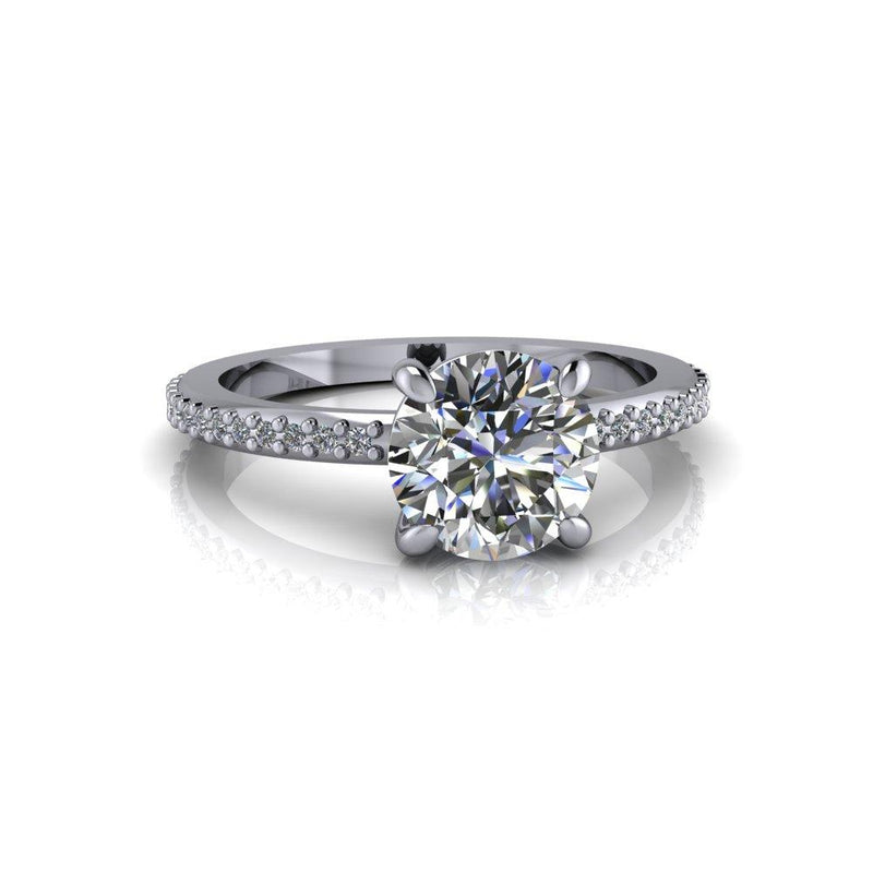 1.68 ctw Charles & Colvard Round Hearts and Arrows Engagement Ring/Bridal Set-Bel Viaggio Designs