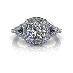 1.68 CTW Cushion Cut Colorless Moissanite Halo Engagement Ring-Bel Viaggio Designs, LLC