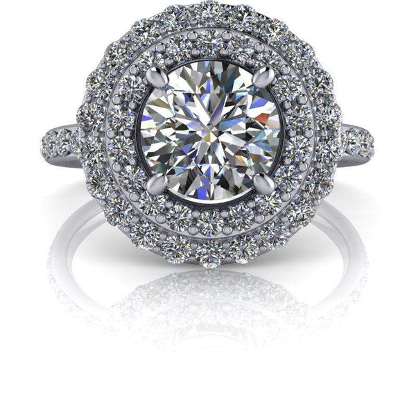 1.68 CTW Double Halo Colorless Moissanite Engagement Ring-Bel Viaggio Designs