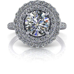 1.68 CTW Double Halo Colorless Moissanite Engagement Ring-BVD