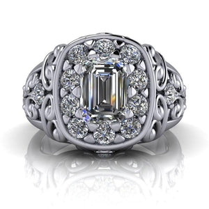 1.68 CTW Vintage Style Ring, Emerald Cut Forever One Moissanite-Bel Viaggio Designs, LLC