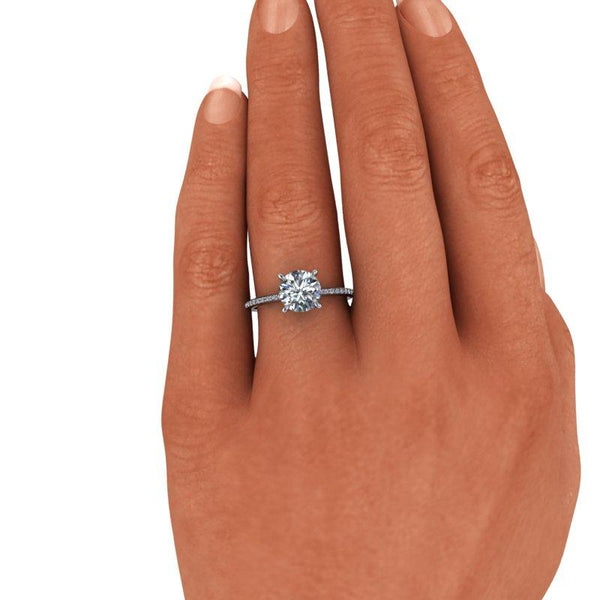 1.70 CTW Charles & Colvard Moissanite Engagement Ring, Thin Band-Bel Viaggio Designs