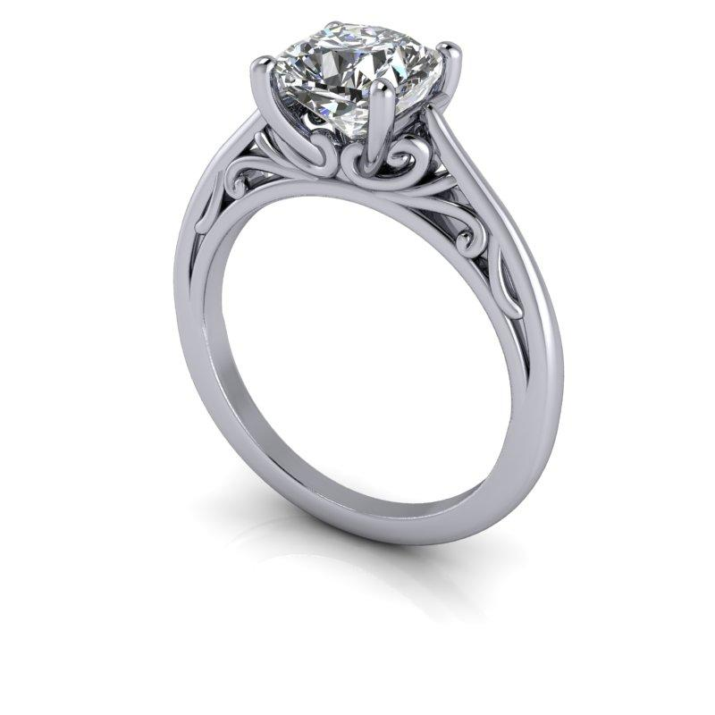 1.70 CTW Cushion Cut Forever One Moissanite Solitaire Engagement Ring, Stone Options-Bel Viaggio Designs, LLC