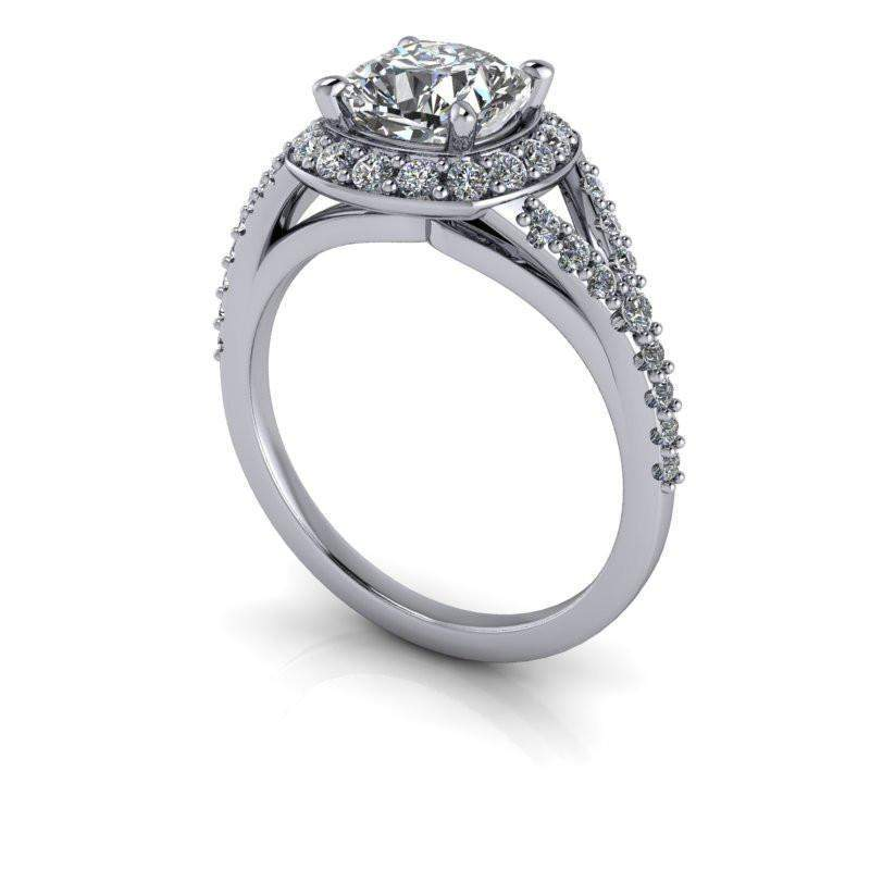 1.70 CTW Cushion Cut Moissanite Halo Engagement Ring Forever One Moissanite Ring-Bel Viaggio Designs