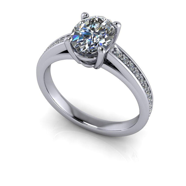 1.70 CTW Oval Moissanite Cathedral Engagement Ring, DEF Color-Bel Viaggio Designs