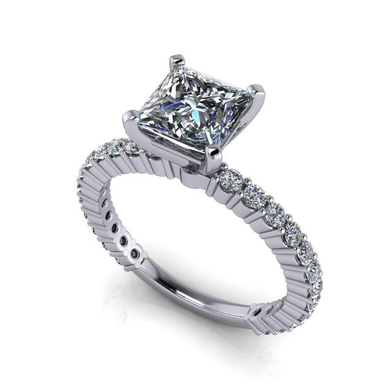 1.73 CTW Princess Cut Forever One Moissanite Partial Eternity Engagement Ring-Bel Viaggio Designs