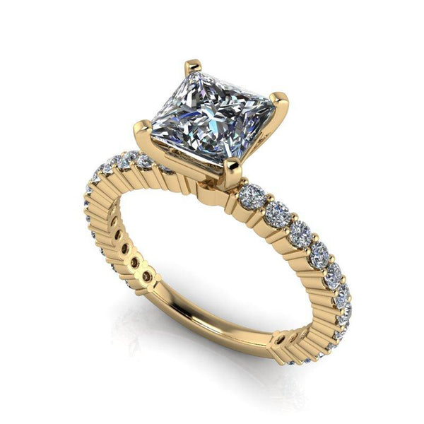 1.73 CTW Princess Cut Forever One Moissanite Partial Eternity Engagement Ring, Stone Options-Bel Viaggio Designs
