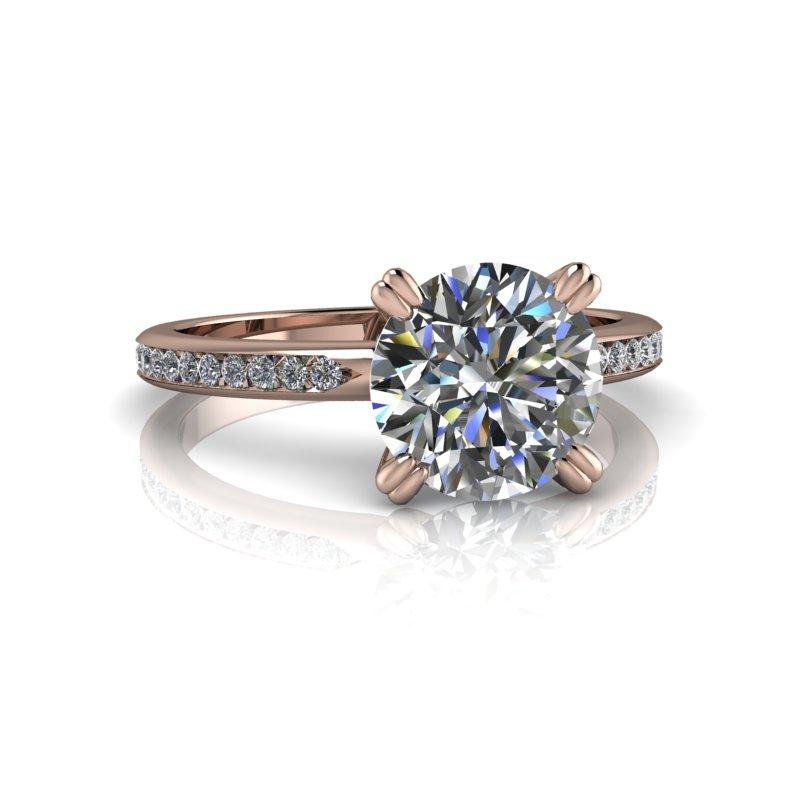 1.73 CTW Round Hearts & Arrows Moissanite Engagement Ring-Bel Viaggio Designs