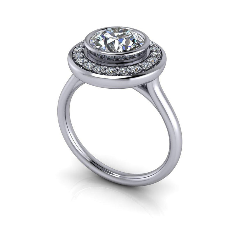 1.75 ctw Charles & Colvard Moissanite Engagement Ring Bezel Set Halo Ring-Bel Viaggio Designs