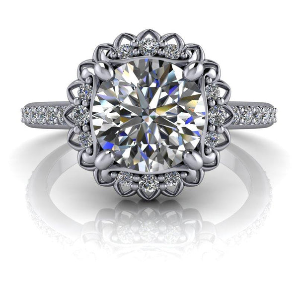 1.75 CTW Flower Style Forever One Moissanite Halo Engagement Ring-Bel Viaggio Designs