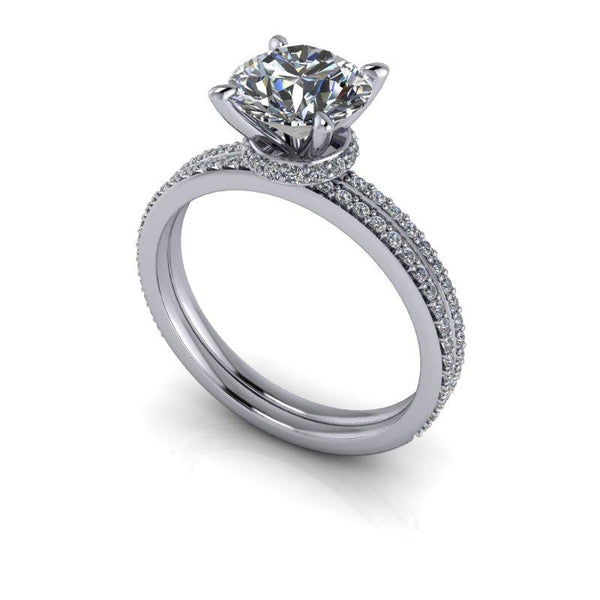 1.75 CTW Moissanite & Diamond Bridal Set, Thin Bands-Bel Viaggio Designs