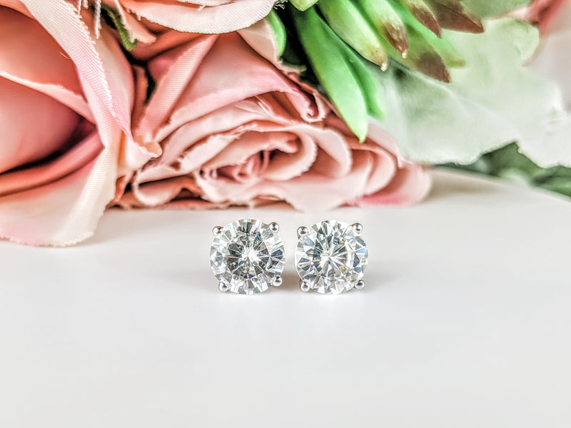 1.75 CTW Stud Earrings - 14kt Gold Round Moissanite 4-Prong Basket Post Earrings-Bel Viaggio Designs