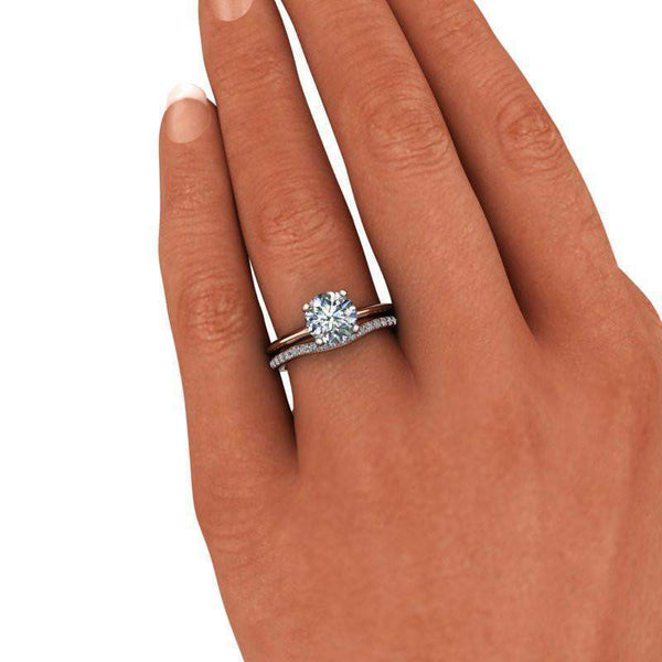 1.76 CTW Forever One Moissanite Bridal Set -Moissanite Wedding Band - Solitaire Ring-Bel Viaggio Designs
