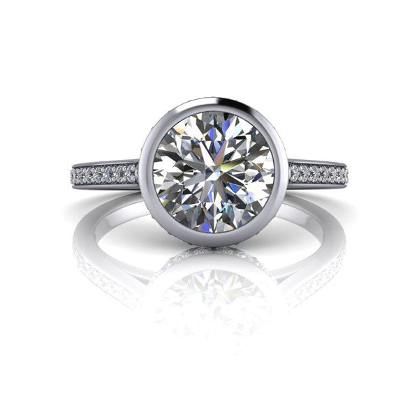 1.76 CTW Round Forever One Moissanite Bezel Set Engagement Ring-Bel Viaggio Designs