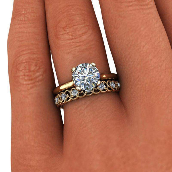 1.77 CTW Round Solitaire Engagement Ring - Moissanite Wedding Band - Insieme Bridal®-BVD