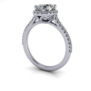 1.78 CTW Oval Colorless Moissanite Halo Engagement Ring-Bel Viaggio Designs, LLC