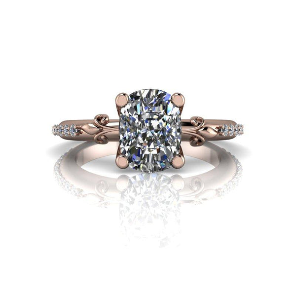 1.80 CTW Elongated Cushion Cut Moissanite Euro Shank Engagement Ring, Stacy K Opulence Limited Edition-BVD