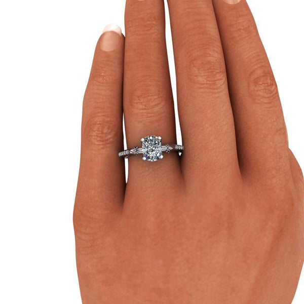 1.80 CTW Elongated Cushion Cut Moissanite Euro Shank Engagement Ring-Bel Viaggio Designs