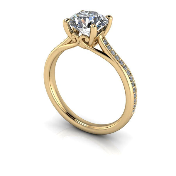 1.80 CTW Moissanite Bridal Set, Round Charles & Colvard Moissanite Engagement Ring-Bel Viaggio Designs