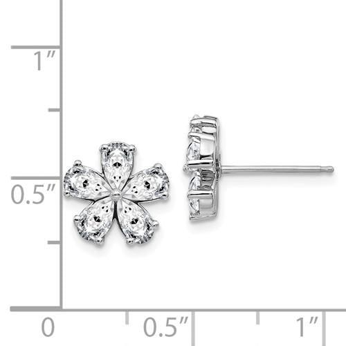 1.80 CTW Moissanite Flower Earrings, Pear Cut-Bel Viaggio Designs